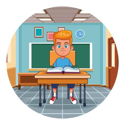 Kid reading book in classroom vector