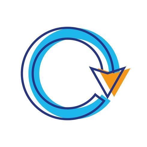 couleur flèche cercle signe chargement en cours
