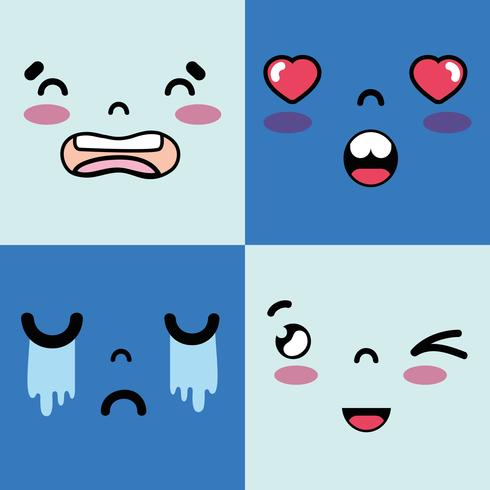 set faces emoji with emotions character