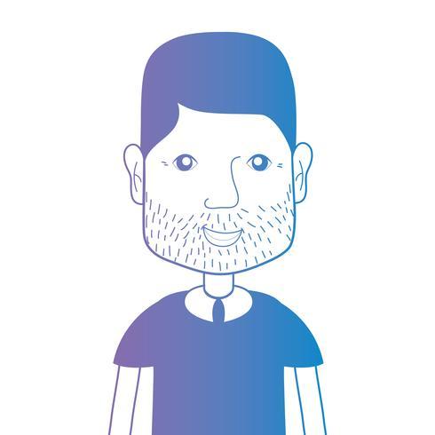 Línea avatar hombre con peinado y camiseta. vector
