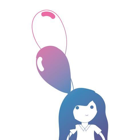Chica de línea con peinado y globos en la mano.