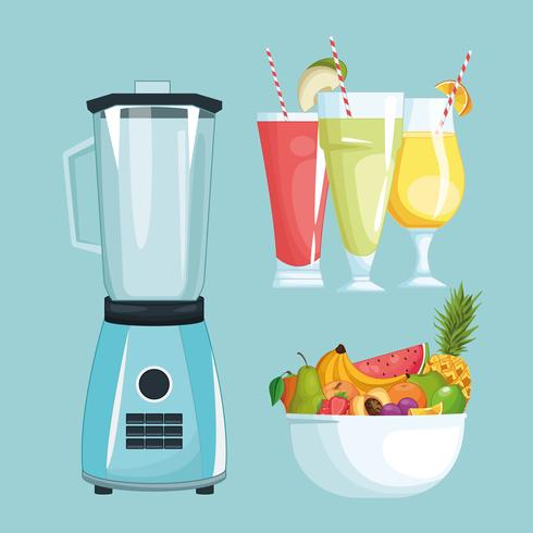 smoothies with fruit bowl and mixer vector