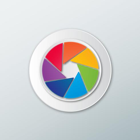 Obturador de câmera de cor do arco-íris de ícone