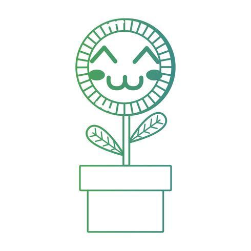 linha kawaii bonito feliz planta de girassol