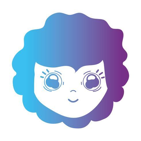line girl head wih hairstyle design
