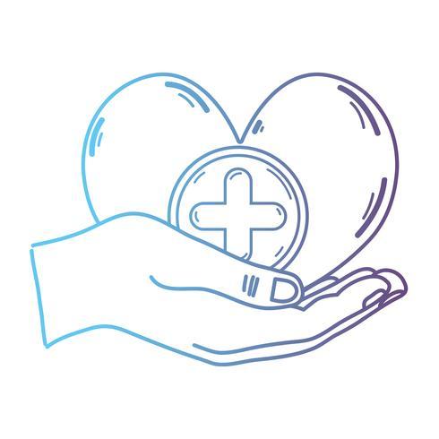 Línea manos con el símbolo de la medicina del corazón para ayudar a la gente