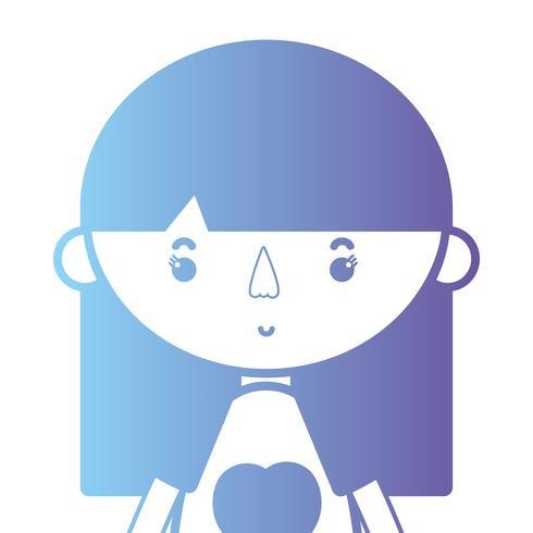 garota de silhueta com design de blusa e penteado