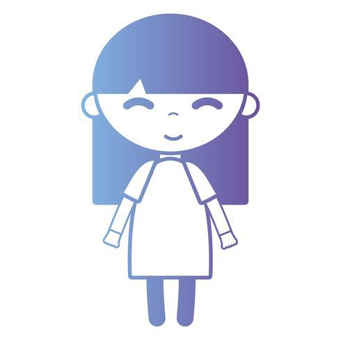fille de silhouette avec la conception de la robe et coiffure