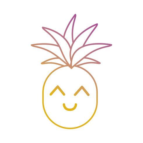 lijn kawaii schattig gelukkig ananas fruit