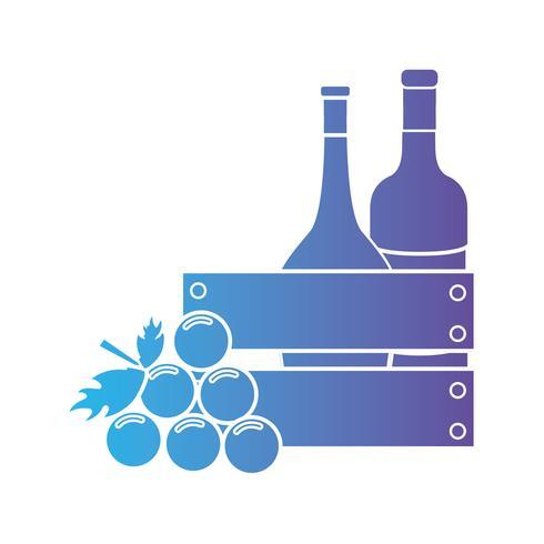 linea di bottiglie di vino all'interno della scatola di legno e frutta dell'uva