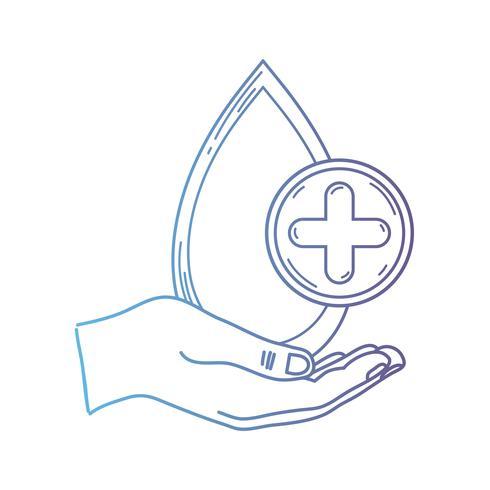 Línea mano con gota de sangre al símbolo de donación médica