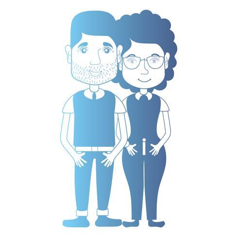 Línea avatar pareja con peinado y ropa.
