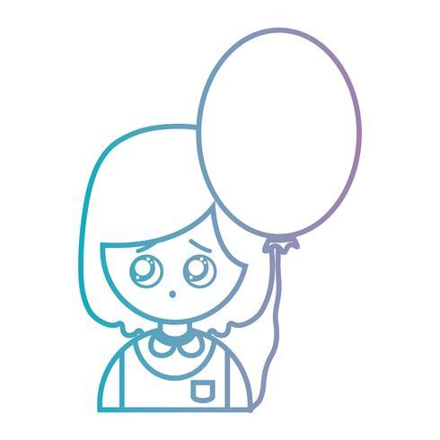Chica de línea con peinado y diseño de globo.
