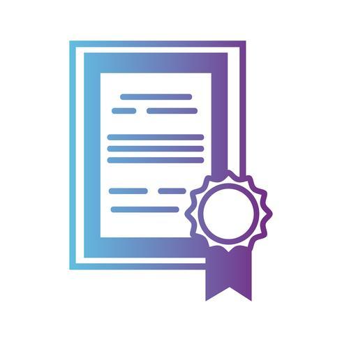 certificado de diploma de graduação de linha com design de moldura de madeira vetor