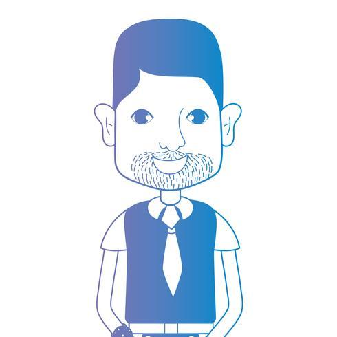 homem de avatar de linha com penteado e t-shirt