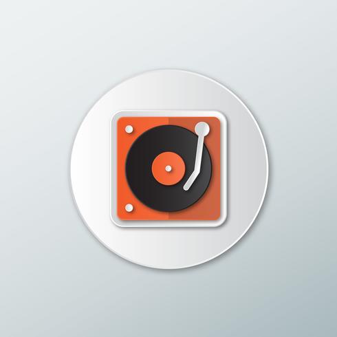 Icon Plattenspieler in einem flachen Stil