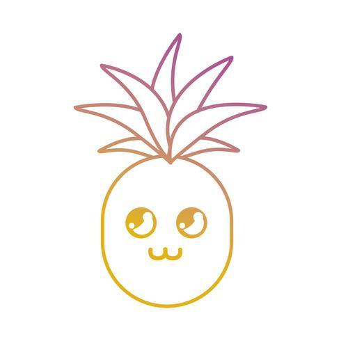 linea kawaii cute happy ananas fruit