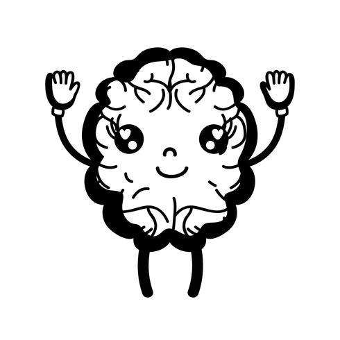 Contorno kawaii lindo cerebro feliz con brazos y piernas
