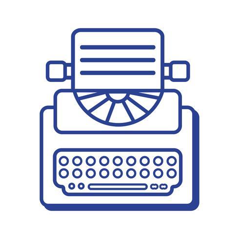 lijn retro typemachine apparatuur met bedrijfsdocument