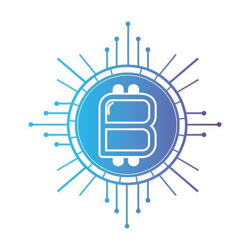 Línea bitcoin criptomoneda electrónica y virtual.