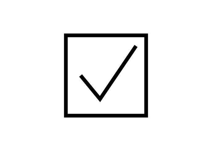 Marca de verificación signo en blanco