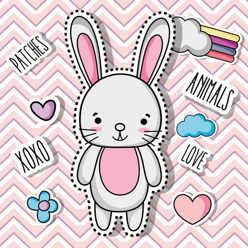 rabbit animal patch sticker design