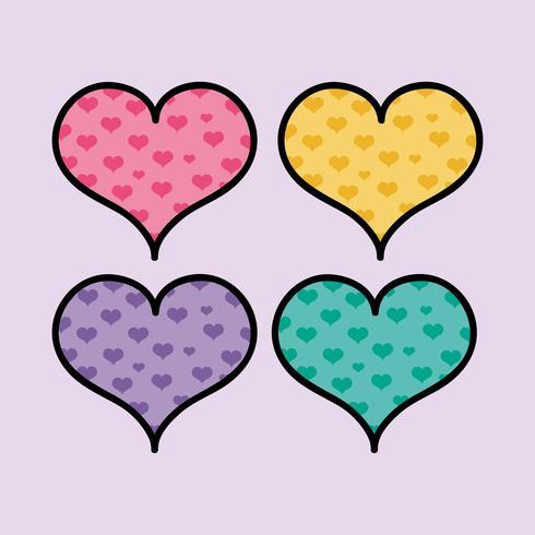 Establecer formas de corazones de colores para amar símbolo