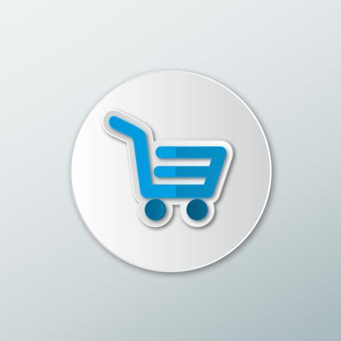 Icono de cesta con ruedas azul. vector