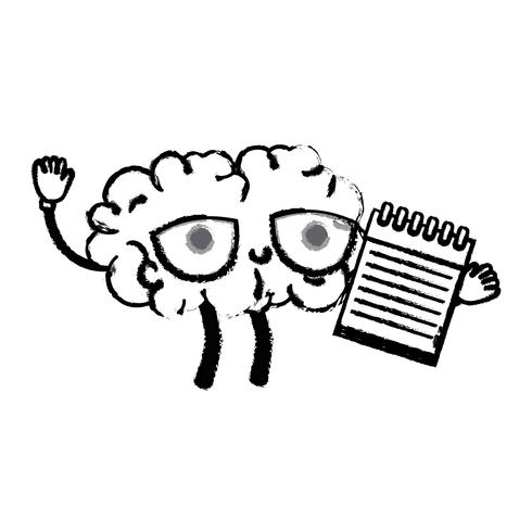 figura cerebro feliz kawaii con herramienta portátil