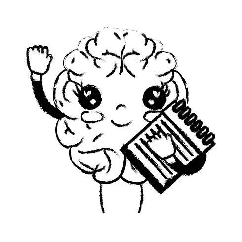 figura kawaii cervello felice con strumento per notebook