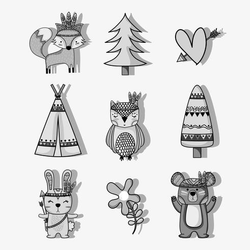 set cute animal tribal in the forest vector