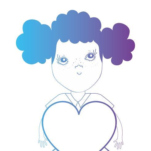 Línea avatar niña con peinado y diseño de corazón.