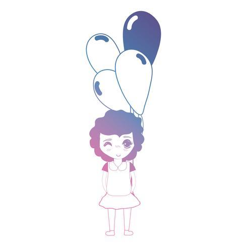 lijn meisje met kapsel en ballonnen in de hand