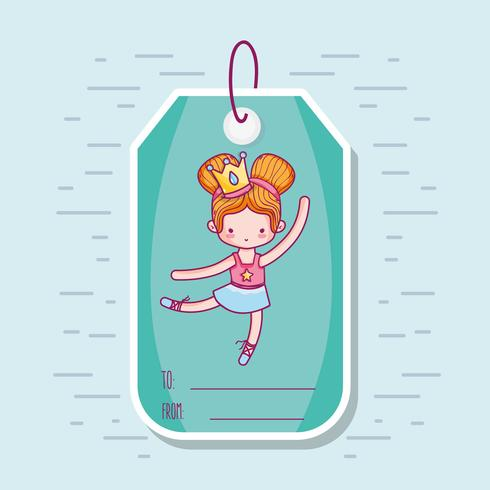 decoration tag with art ballet design vector