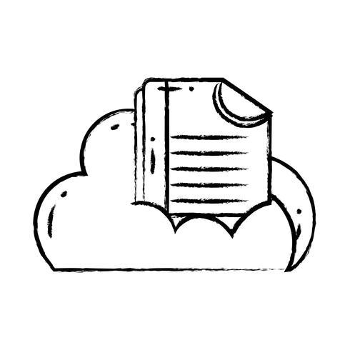 Figura datos en la nube con información de documentos digitales. vector