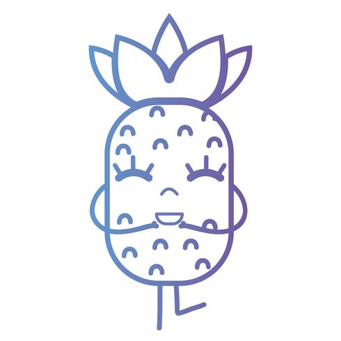 línea kawaii lindo feliz piña fruta