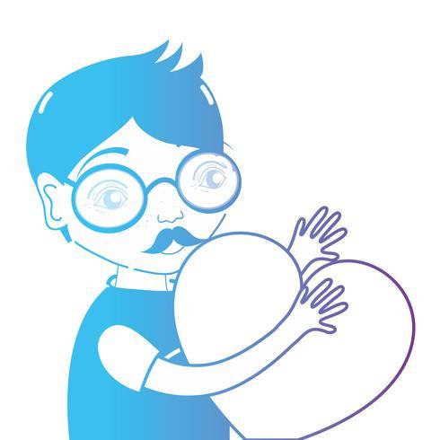 ligne homme avec des lunettes et coeur dans les mains
