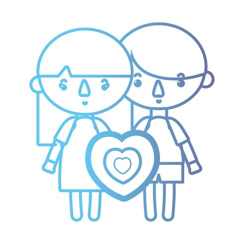 Linie Kinder zusammen mit Herzdesign