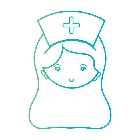 Linie Frau Krankenschwesterkopf mit Frisur Design