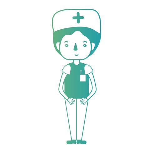 Enfermera de hombre línea con uniforme y peinado.