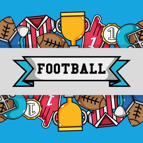 Herramientas de fútbol americano con fondo de mensaje de cinta