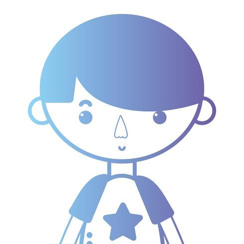 Silueta de niño con camiseta y diseño de peinado.