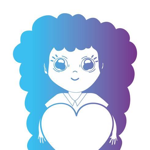 line avatar flicka med frisyr och hjärta design