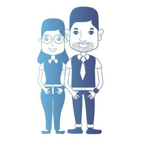 Línea avatar pareja con peinado y ropa. vector