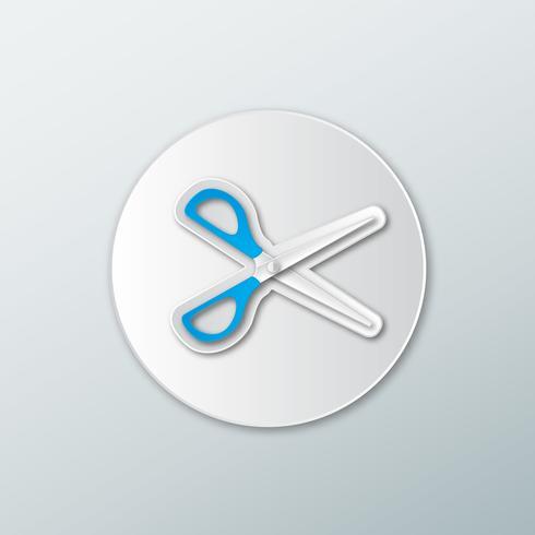 icona delle forbici in uno stile piatto
