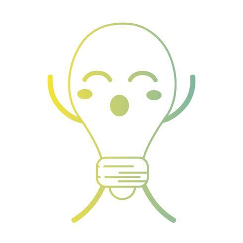 línea kawaii lindo divertido bombilla energía