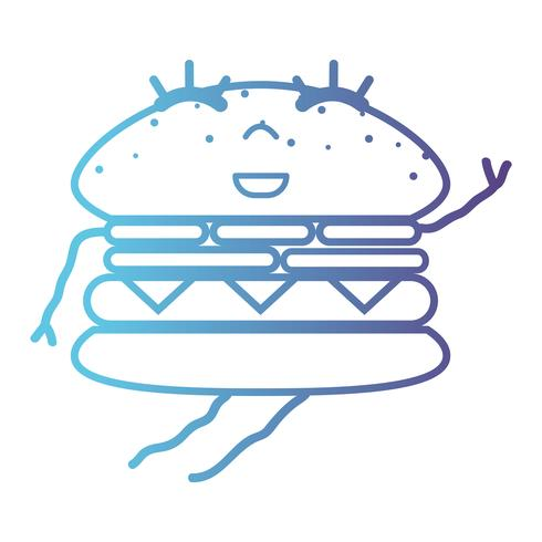 Linie Kawaii süß glücklich Hamburger Fastfood