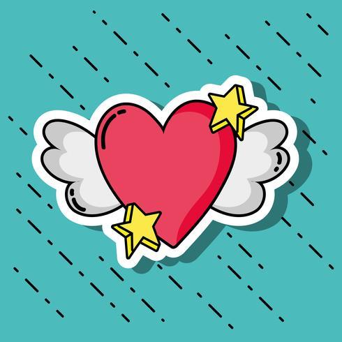 Diseño de parches con el símbolo del día de san valentín del amor.