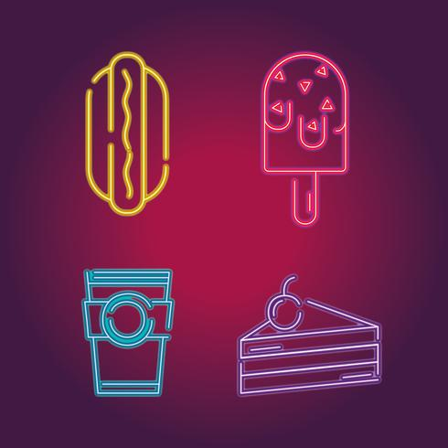 set business commercial neon icons decoration