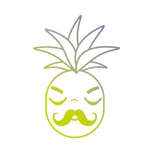 Linie kawaii niedliche verärgerte Ananasfrucht